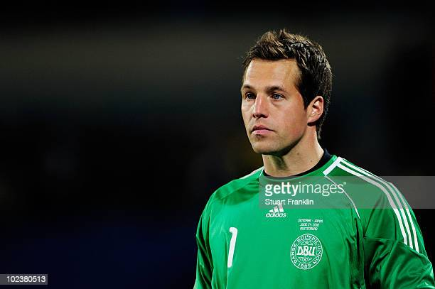 Thomas Sorensen of Denmark looks dejected after Japan go up by two goals during the 2010 FIFA World Cup South Africa Group E match between Denmark...