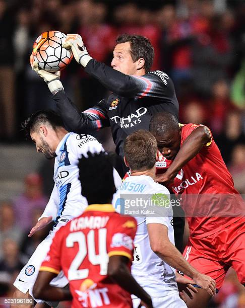 Thomas Sorensen of Melbourne City makes a save during the ALeague Semi Final match between Adelaide United and Melbourne City at Coopers Stadium on...