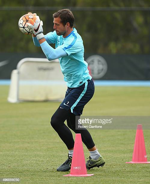 Thomas Sorensen of Melbourne City takes the ball during a Melbourne City FC ALeague training session at City Football Academy on November 11 2015 in...