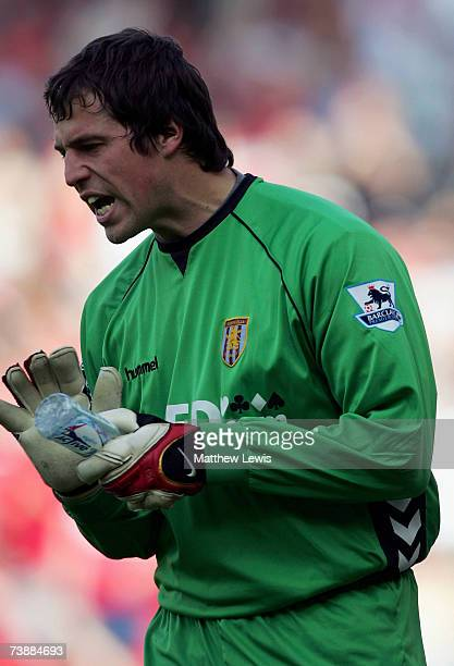 Thomas Sorenson of Aston villa shows his frustration after letting the ball go into the net from Fabio Rochemback of Middlesbrough's free kick during...