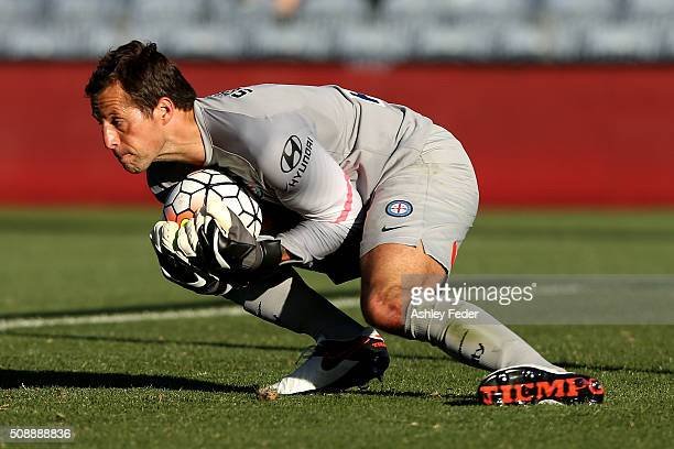Thomas Sorenson of Melbourne City saves a goal during the round 18 ALeague match between the Newcastle Jets and Melbourne City FC at Hunter Stadium...