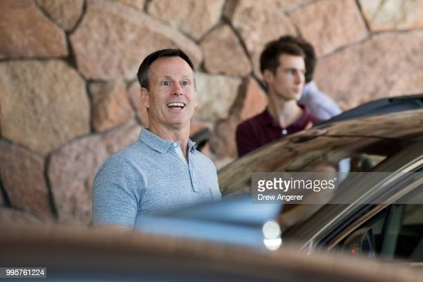 Thomas Staggs former chief operating officer of The Walt Disney Company arrives at the Sun Valley Resort for the annual Allen Company Sun Valley...
