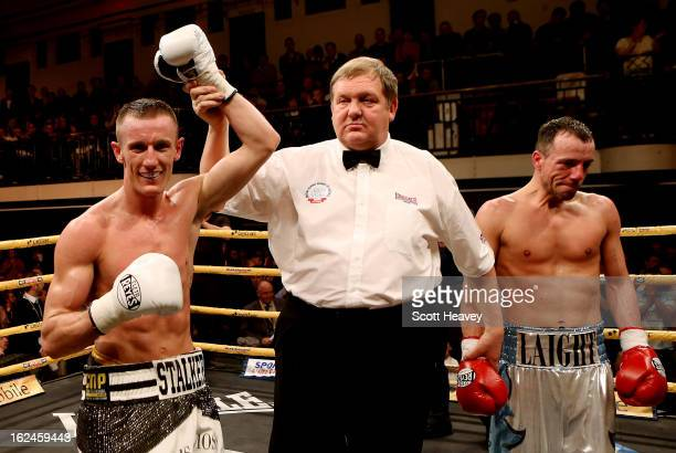 Thomas Stalker celebrates his victory over Kristian Laight during their Light Welterweight bout during the International Heavywarights III betfair...