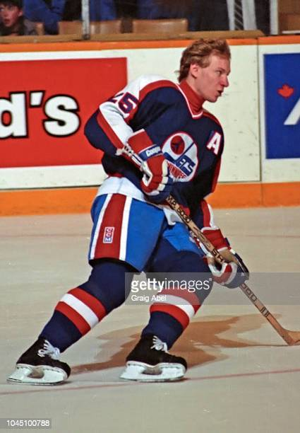 Thomas Steen of the Winnipeg Jets skates against the Toronto Maple Leafs during NHL game action on March 17 1990 at Air Canada Centre in Toronto...