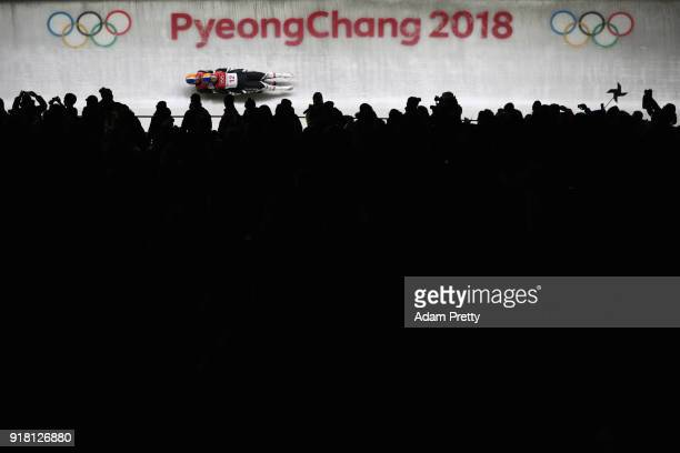 Thomas Steu and Lorenz Koller of Austria make a run during the Luge Doubles on day five of the PyeongChang 2018 Winter Olympics at the Olympic...