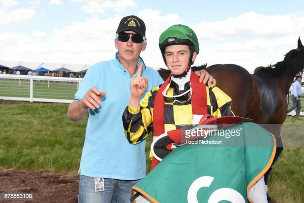 Thomas Stockdale with Bill Cerchi after winning the XXXX Gold BM70 Handicap at Dunkeld Racecourse on November 18 2017 in Dunkeld Australia
