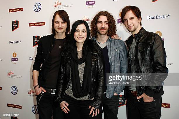 Thomas Stolle singer Stefanie Kloss Andreas Nowak and Johannes Stolle of the German band Silbermond attend the ECHO 2012 press conference on February...