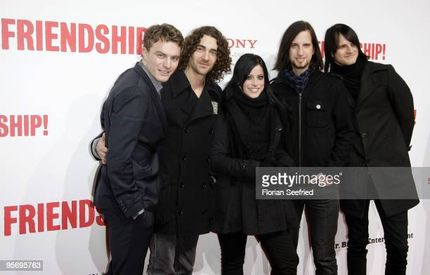 Thomas Stolle singer Stefanie Kloss Johannes Stolle and Andreas Nowak of the Band Silbermond attend the premiere of 'Friendship' at CineMaxx at...