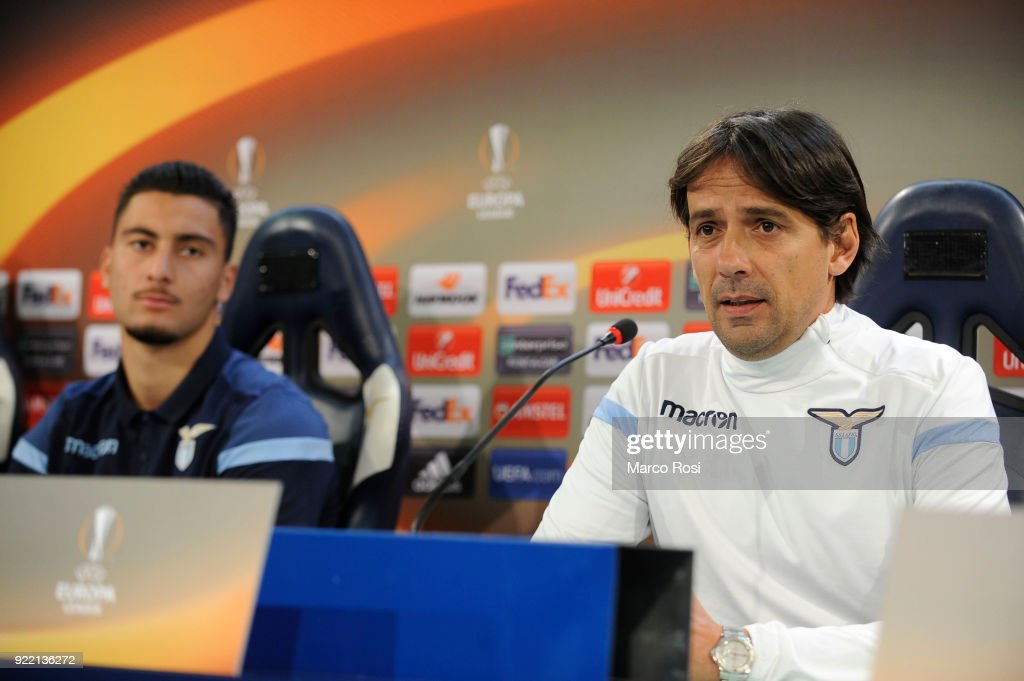 Thomas Strakoscha and SS Lazio head coach Simone Inzaghi during the SS Lazio press conference on February 21, 2018 in Rome, Italy.
