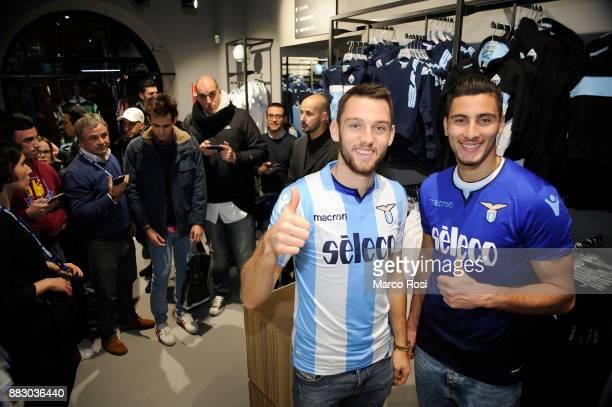 Thomas Strakoscha and Stefan De Vrij of SS Lazio players visit the new Macron Store on November 30 2017 in Rome Italy