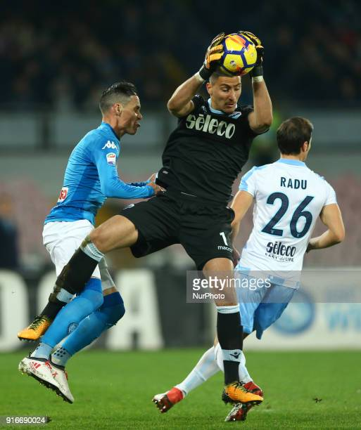 Thomas Strakosha of Lazio and Jose Maria Callejon of Napoli during the serie A match between SSC Napoli and SS Lazio at Stadio San Paolo on February...