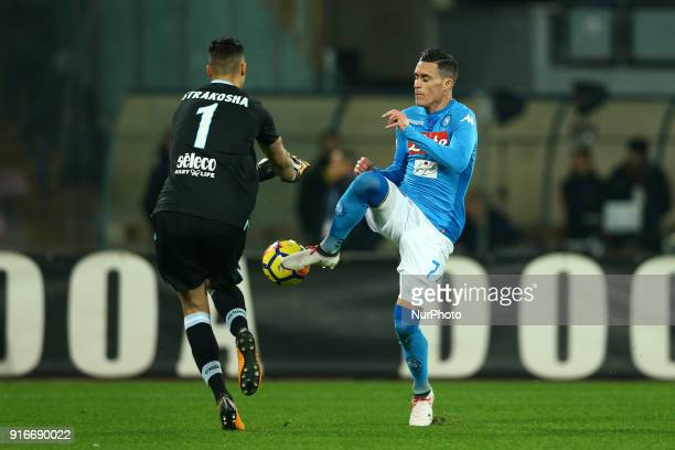 Thomas Strakosha of Lazio saving on Jose Maria Callejon of Napoli during the serie A match between SSC Napoli and SS Lazio at Stadio San Paolo on...