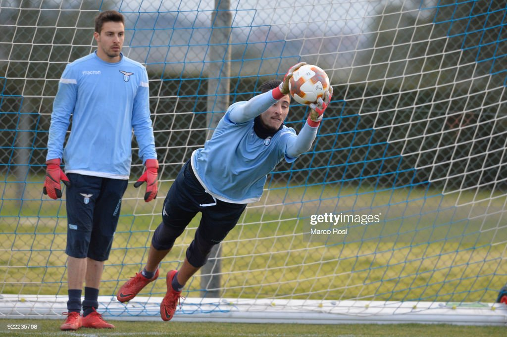 Thomas Strakosha of SS Lazio during the SS Lazio training session on the eve of their UEFA Europa Match against Steaua Bucharest on February 21, 2018 in Rome, Italy.