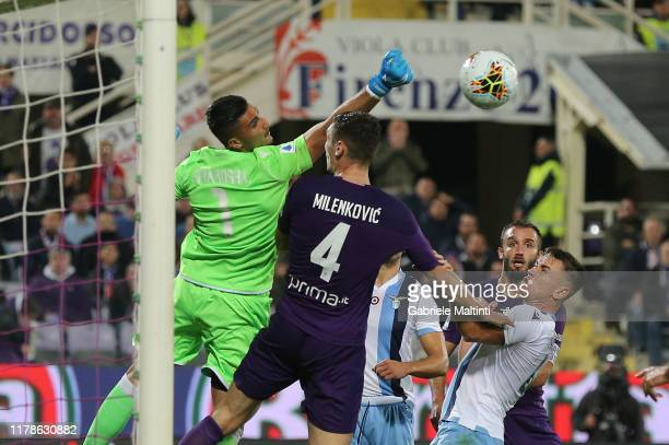 Thomas Strakosha of SS Lazio in action during the Serie A match between ACF Fiorentina and SS Lazio at Stadio Artemio Franchi on October 27, 2019 in...