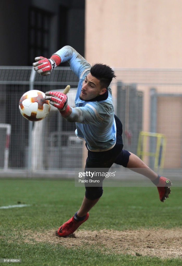 Thomas Strakosha of SS Lazio in action during the SS Lazio training session on February 14, 2018 in Rome, Italy.