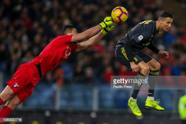 Thomas Strakosha of SS Lazio makes a save against Cristiano Ronaldo of Juventus during the Serie A match between SS Lazio and Juventus at Stadio...