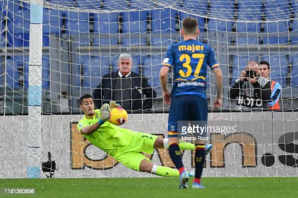 Thomas Strakosha of SS Lazio saves a penalty during the Serie A match between SS Lazio and US Lecce at Stadio Olimpico on November 10 2019 in Rome...