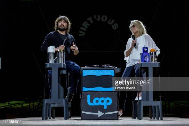 Thomas Szaky Founder of TerraCycle and Virginie Helias CSO at PG speak to attendees during a plenary session during the Sustainable Brands Paris...