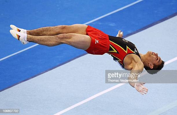 Thomas Taranu of Germany performs at the floor during the EnBW Gymnastics Worldcup 2010 at the Porsche Arena on November 13 2010 in Stuttgart Germany