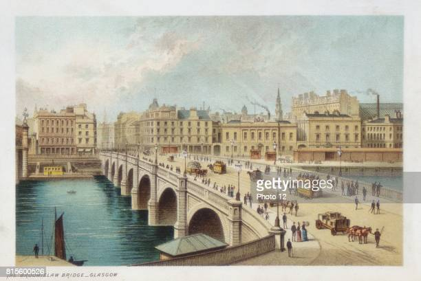 Thomas Telford's bridge over the Clyde at Broomielaw, Glasgow. His last stone bridge, begun 18 March 1833, opened 1January 1836. Horse trams crossing...