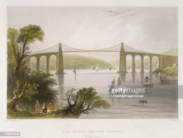 Thomas Telford's suspension bridge over the Menai Straits, Wales, built 1820-1826. The original timber deck was wrecked in a storm, 1839. In 1940 the...