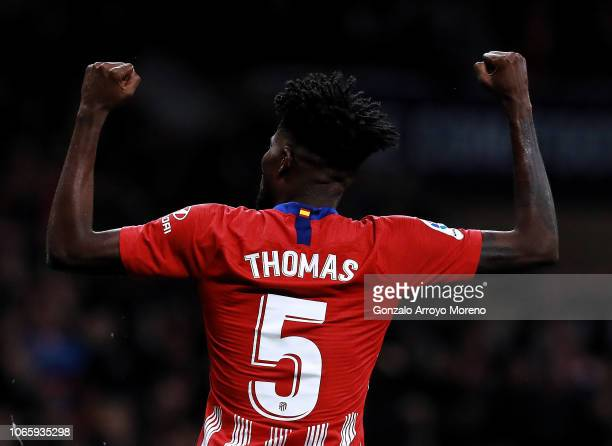 Thomas Teye Partey of Atletico de Madrid celebrates scoring their first goal during the La Liga match between Club Atletico de Madrid and Athletic...