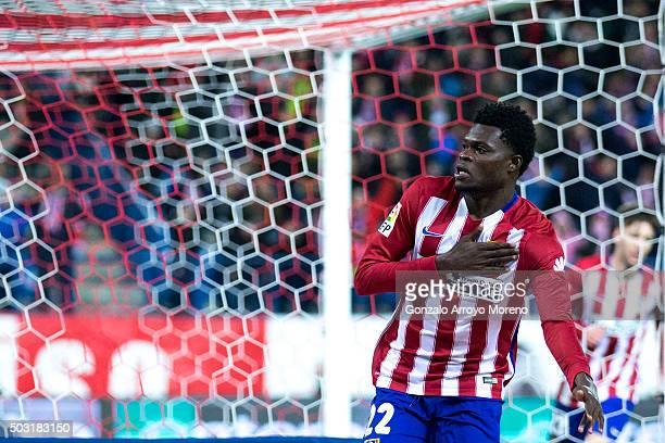 Thomas Teye Partey of Atletico de Madrid celebrates scoring their opening goal during the La Liga match between Club Atletico de Madrid and Levante...