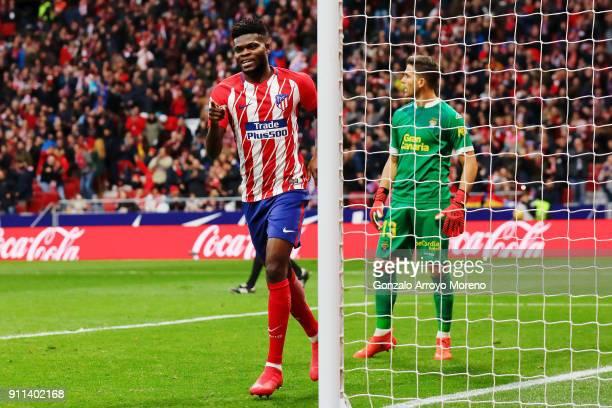 Thomas Teye Partey of Atletico de Madrid celebrates scoring their third goal during the La Liga match between Club Atletico Madrid and UD Las Palmas...