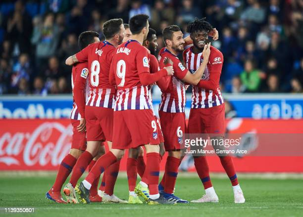 Thomas Teye Partey of Atletico Madrid celebrates after scoring his team's fourth goal during the La Liga match between Deportivo Alaves and Club...