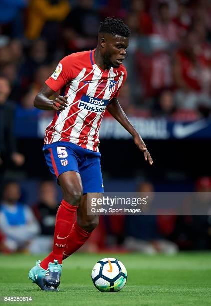 Thomas Teye Partey of Atletico Madrid in action during the La Liga match between Atletico Madrid and Malaga at Wanda Metropolitano stadium on...