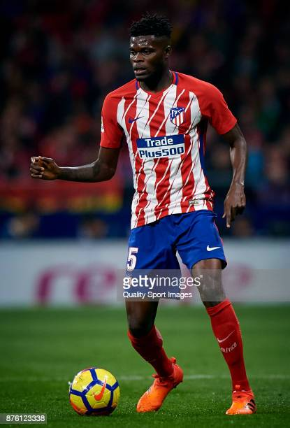 Thomas Teye Partey of Atletico Madrid in action during the La Liga match between Atletico Madrid and Real Madrid at Wanda Metropolitano Stadium on...