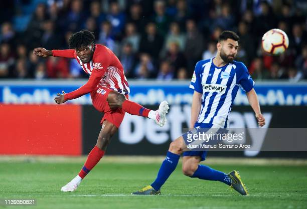 Thomas Teye Partey of Atletico Madrid scoring his team's fourth goal during the La Liga match between Deportivo Alaves and Club Atletico de Madrid at...