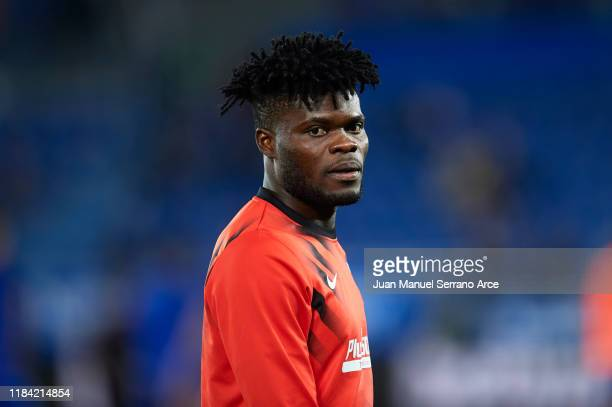 Thomas Teye Partey of Club Atletico de Madrid looks on during the Liga match between Deportivo Alaves and Club Atletico de Madrid at Estadio de...
