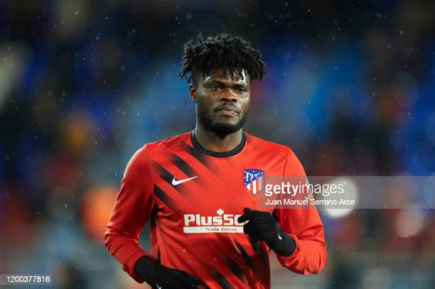 Thomas Teye Partey of Club Atletico de Madrid looks on during warm up prior to the Liga match between SD Eibar SAD and Club Atletico de Madrid at...
