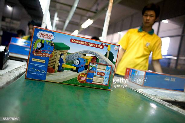 A Thomas the Tank Engine and Friends toy train package travels on an assembly line at the Li Cheng Industrial Park The Li Cheng Industrial Park...