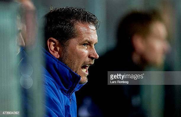 Thomas Thomasberg assistant coach of Randers FC gives instructions from the bench during the Danish Alka Superliga match between Sonderjyske and...