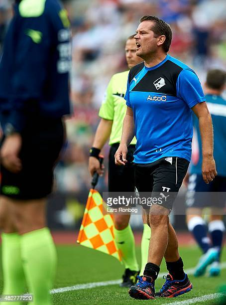 Thomas Thomasberg assistant coach of Randers FC gives instructions during the Danish Alka Superliga match between AGF Aarhus and Randers FC at Ceres...