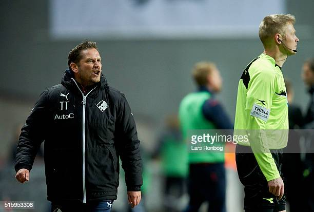 Thomas Thomasberg assistant coach of Randers FC shows frustration against the lines man during the Danish DBU Pokalen cup quarterfinal match between...