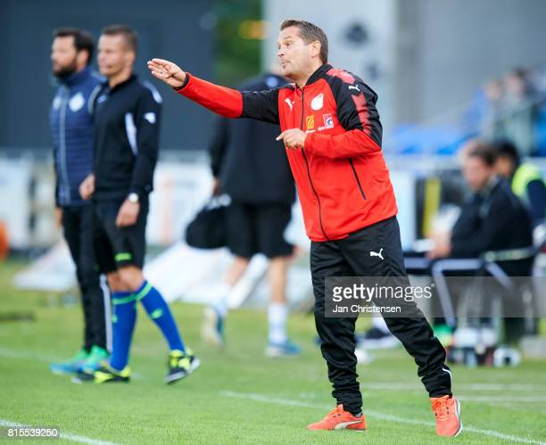 Thomas Thomasberg head coach of Hobro IK gives instructions during the Danish Alka Superliga match between Hobro IK and FC Helsingor at DS Arena on...