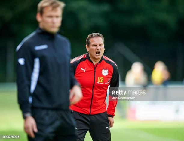 Thomas Thomasberg head coach of Hobro IK gives instructions during the Danish Alka Superliga match between Hobro IK and Randers FC at DS Arena on...