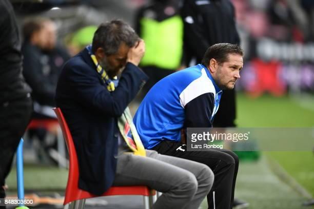 Thomas Thomasberg head coach of Hobro IK looks on during the Danish Alka Superliga match between FC Midtjylland and Hobro IK at MCH Arena on...