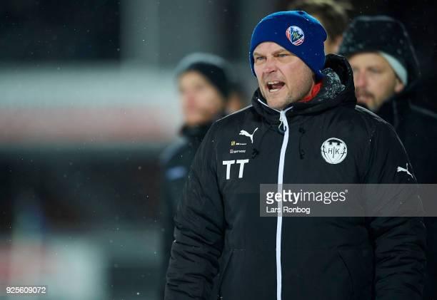 Thomas Thomasberg head coach of Hobro IK shouts during the Danish Alka Superliga match between Hobro IK and FC Copenhagen at DS Arena on February 28...