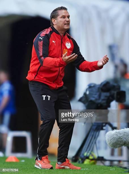 Thomas Thomasberg head coach of Hobro IK shows frustration during the Danish Alka Superliga match between FC Copenhagen and Hobro IK at Telia Parken...