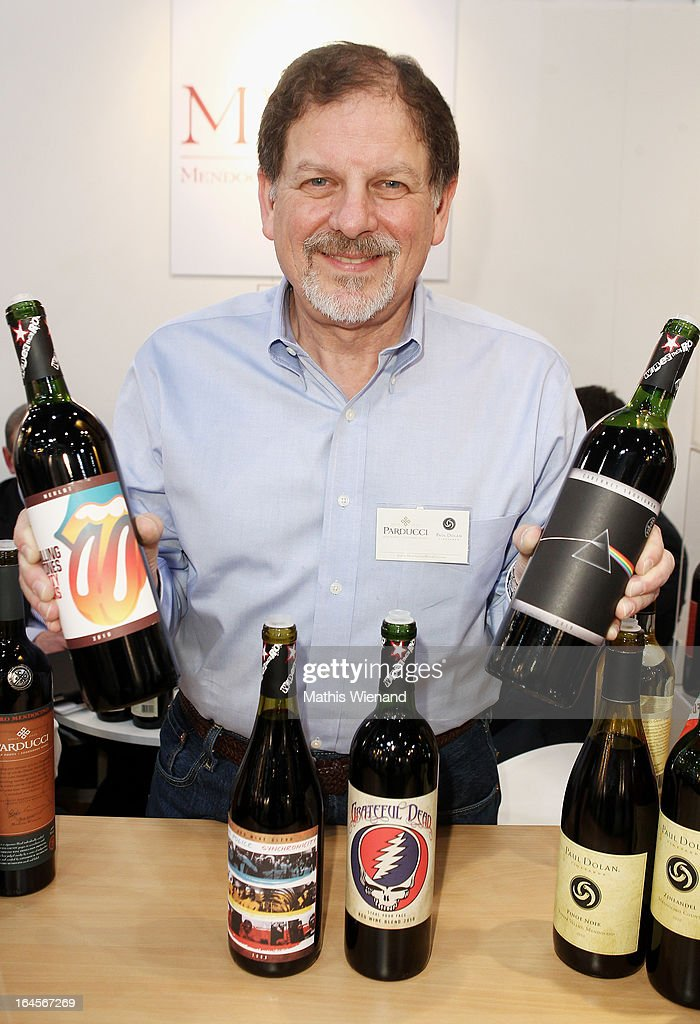Thomas Thornhill of the Mendocino Wine Company presents the wine set 'Wines that Rock' which is inspired by the Rolling Stones, The Police and Pink Floyd at the 'Pro Wein' Traide Fair Düsseldorf on March 24, 2013 in Dusseldorf, Germany.