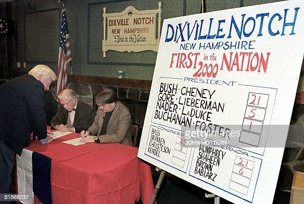 Thomas Tillotson Neil Tillotson and Stephen Barba count the results of ballots after voters in Dixville Notch New Hampshire cast the first ballots in...