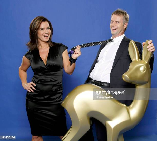 Thomas 'Tom' Bartels and former ice skating champion Katarina Witt attend their presentation as new Bambi Hosts at Sky Lounge at Side Hotel on...