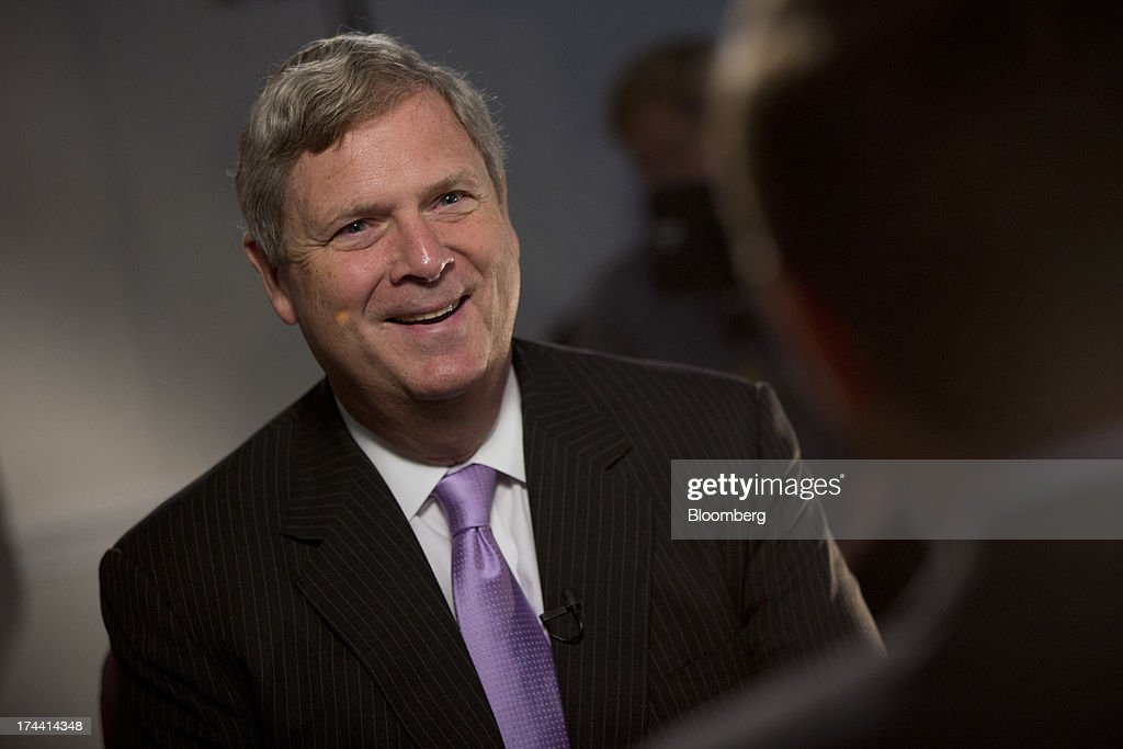 Thomas 'Tom' Vilsack, secretary of the U.S. Department of Agriculture (USDA), speaks prior to a Bloomberg Television interview in Washington, D.C., U.S., on Thursday, July 25, 2013. Monsanto Co. and the U.S.D.A. are investigating how genetically modified wheat that hasnt been approved for commercial use was found on an Oregon farm eight years after nationwide field tests ended. Photographer: Andrew Harrer/Bloomberg via Getty Images