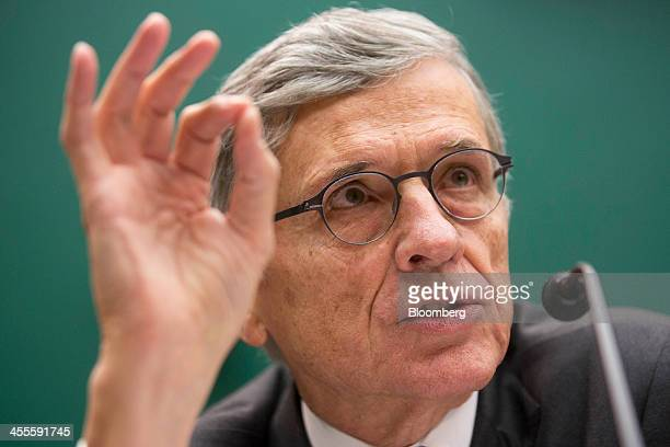 Thomas Tom Wheeler chairman of the Federal Communications Commission speaks during a House Energy and Commerce Subcommittee hearing in Washington DC...
