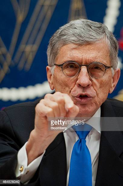 Thomas Tom Wheeler chairman of the Federal Communications Commission speaks during an open meeting to vote on internet regulations in Washington DC...
