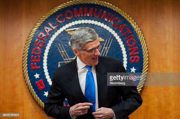 Thomas 'Tom' Wheeler chairman of the Federal Communications Commission arrives for an open meeting to vote on internet regulations in Washington DC...